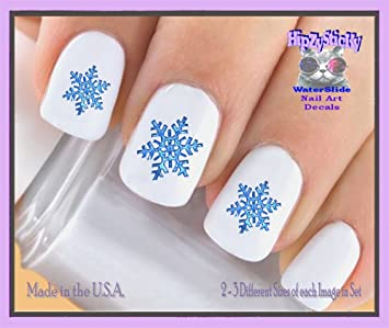 Amazon.com : Holiday Christmas - Christmas 809X Holiday Winter Snowflakes BLUE Nail Decals - WaterSlide Nail Art Decals - Highest Quality!