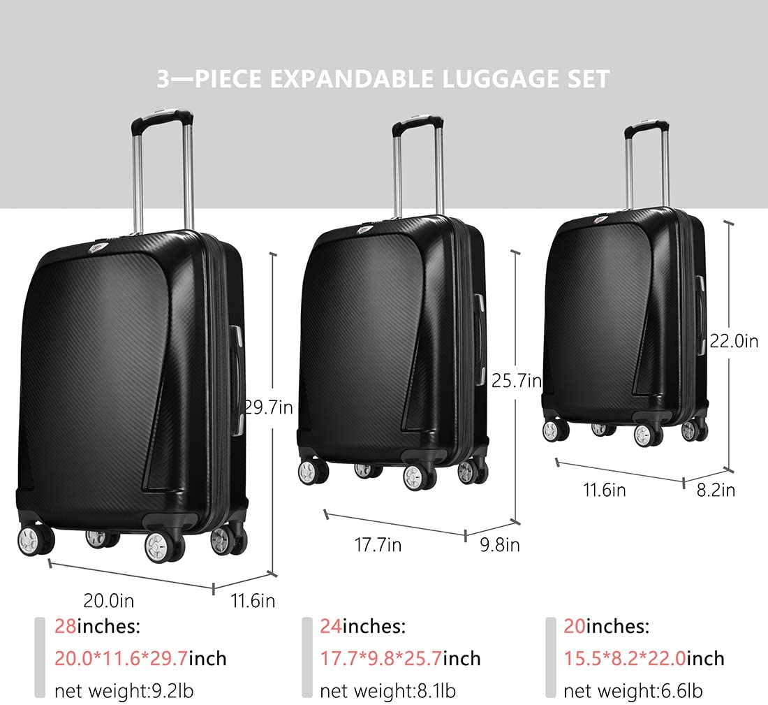 Ginza Travel Anti-scratch PC Material Luggage 3 Piece Sets Lightweight Spinner Expandable Suitcase all 20 24 28