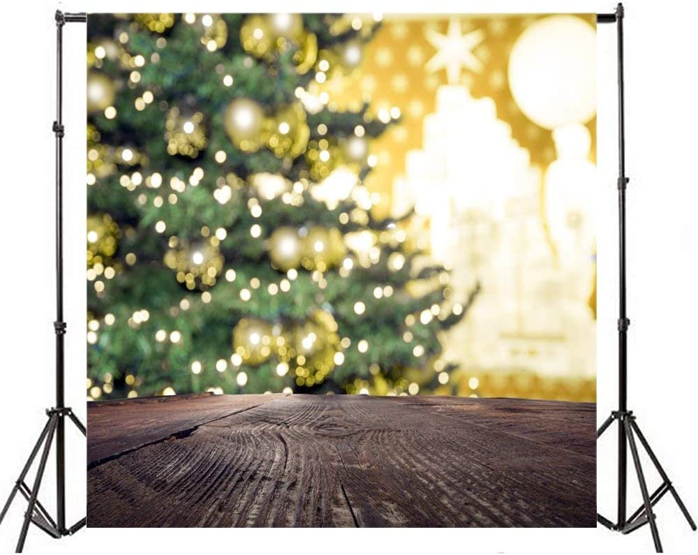 8x8ft Polyester Photography Backdrop Christmas Tree Light Bokeh Shabby Chic Brown Wood Floor Scene Photo Background Children Baby Adults Portraits Backdrop