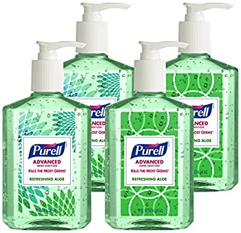 Purell Advanced Hand Sanitizer With Aloe Decorative Collection - Hand Sanitizer Gel 8 Fl Oz Table Top Pump Bottle (Pack Of 4) - 9674-06-ecdeco 0