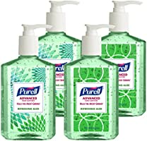 PURELL Advanced Hand Sanitizer with Aloe Decorative Collection - Hand Sanitizer Gel 8 fl oz Table Top Pump Bottle (Pack of 4) - 9674-06-ECDECO