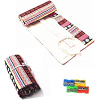 RayLineDo 36 Holes Canvas Pencil Wrap Roll Up Pencil Case Pen Holder Bag Storage Pouch Pink Bohemia Style