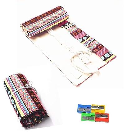 Estuche para lápices Raylinedo® de tela enrollable con 36 orificios para lápices, color rosa, estilo bohemio , Rosa, 72 Holes
