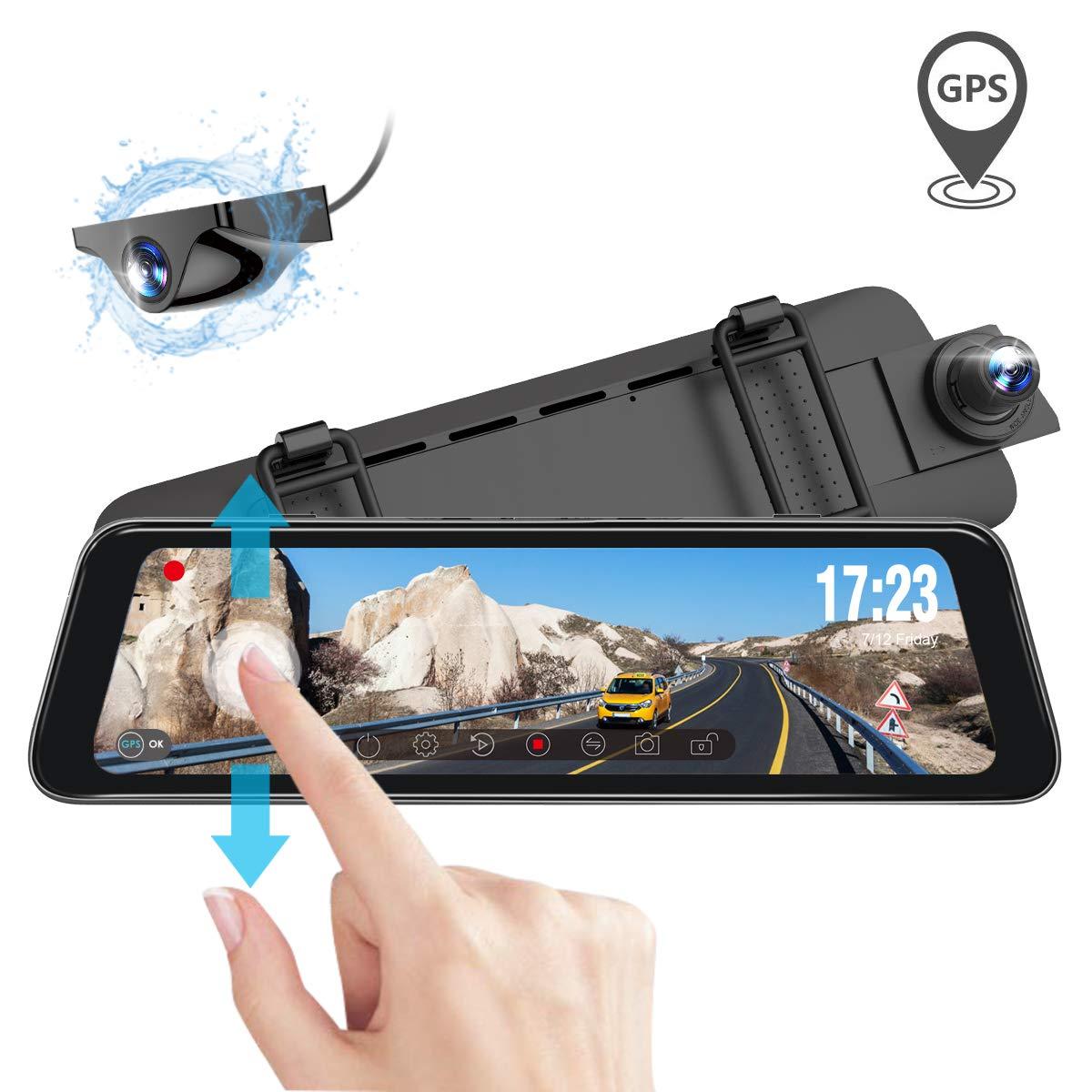 Vantrue M1 Rearview Mirror Dash Cam GPS Waterproof Backup Camera 9.88'' Dual 1080P Front and Rear Dash Cam, 2K 1296P Touch Screen Front Dash Camera, Night Vision, 24 Hours Parking Mode, Motion Sensor by VANTRUE