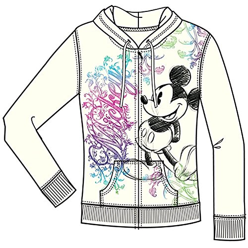 Disney Junior Women Ornate Mickey Mouse Zip Up Hoodie, Off White (Large)