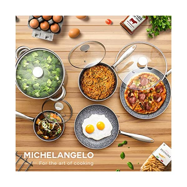 MICHELANGELO Stone Cookware Set 10 Piece, Ultra Nonstick Pots and Pans Set with Stone-Derived Coating, Kitchen Cookware… 6