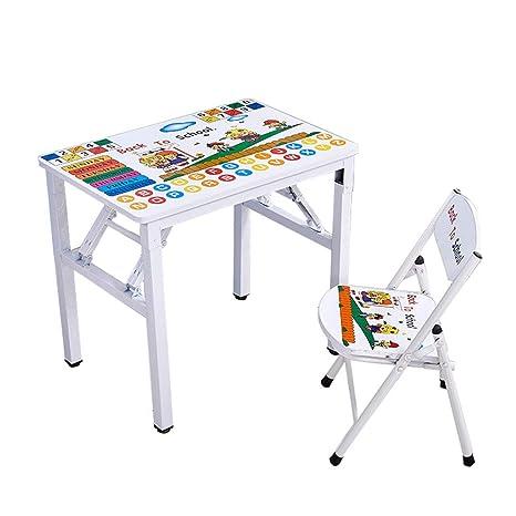 ZH Escritorio y Silla Plegables para niños, Mesa de Cartas ...