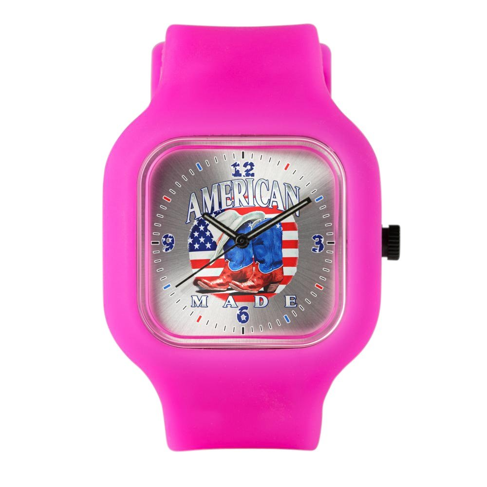 Bright Pink Fashion Sport Watch US American Flag Country Cowboy Boots