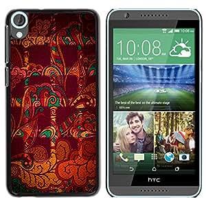 Be Good Phone Accessory // Dura Cáscara cubierta Protectora Caso Carcasa Funda de Protección para HTC Desire 820 // Abstract Checkered Indian Pattern Maroon