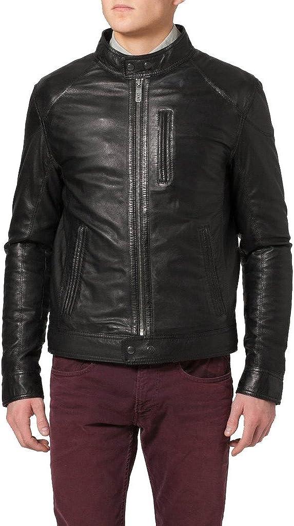 New Men Genuine Sheep Leather Slim Fit Biker Jacket LF382