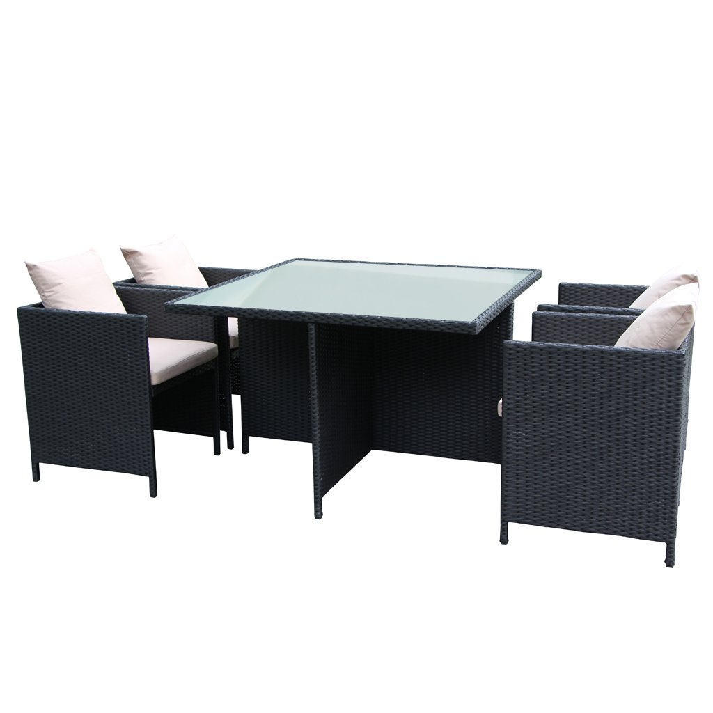 The Home Patio Furniture Outside And Inside Garden Rattan Dining Set With 5PCS, Wicker Furniture Set