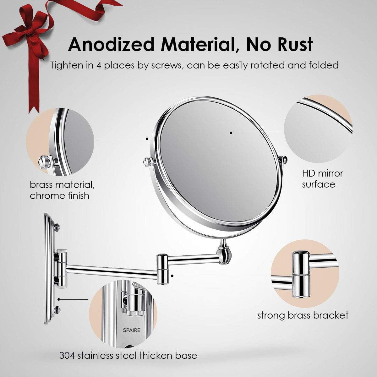 Extensible y con Acabado Cromado spaire Espejo de Ba/ño con Aumento 7X Normal Reversible 8 Pulgadas Redondo de Pared Espejo de Ba/ño Giratorio