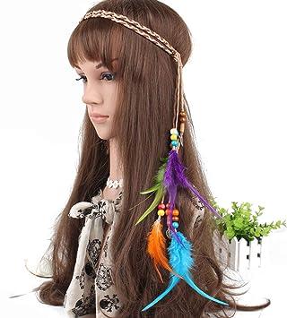 Amazon.com: Diadema de plumas de indiana para mujer ...