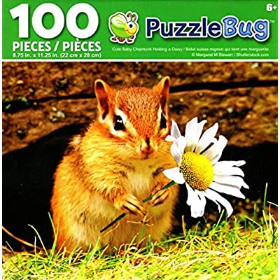 Puzzlebug Cute Baby Chipmunk Holding a Daisy 100 Piece Jigsaw Puzzle: Toys & Games [5Bkhe0203306]