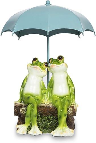 Frog Garden Statues-Resin Happy Couple Frogs on Bench Figurines Indoor Outdoor Spring Decorations