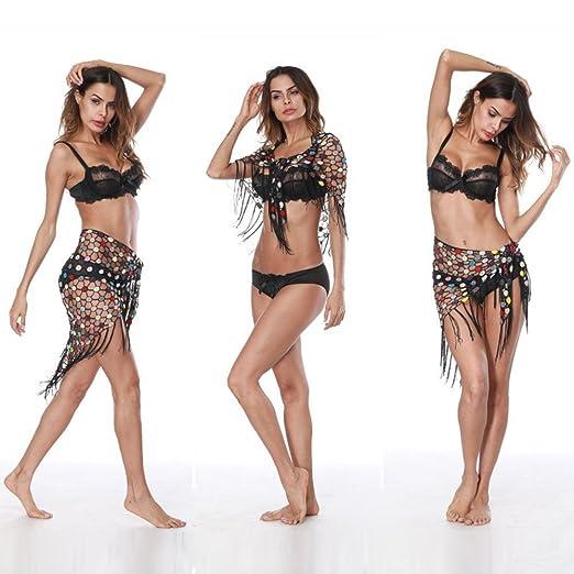 b033c16be734e Crochet Tassel Summer Dresses Swimsuit Bikini (Black) at Amazon ...