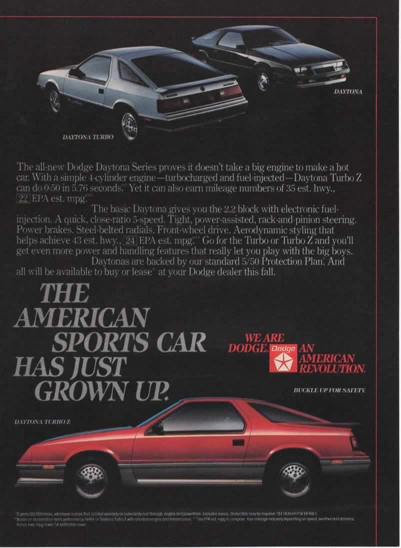 "1985 Dodge Daytona Turbo Z Pure Adrenalin Original Print Ad 8.5 x 11/"""