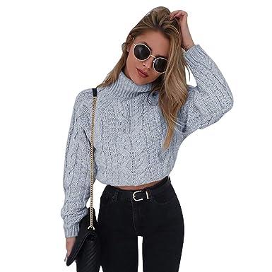 0f854e6009ea Jitong Pull Court Femme à Tricoter Col Roulé Manches Longues Pullover  Sweaters d automne (