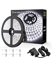 Onforu 16.4ft 5M LED Strip Lights Kits, 12V LED Ribbon with Power Adapter, 300 2835 LEDs, 6000K Daylight White Mirror Lights, Non-Waterproof LED Light Strips for Under Bed, Cabinet, Kitchen Lighting