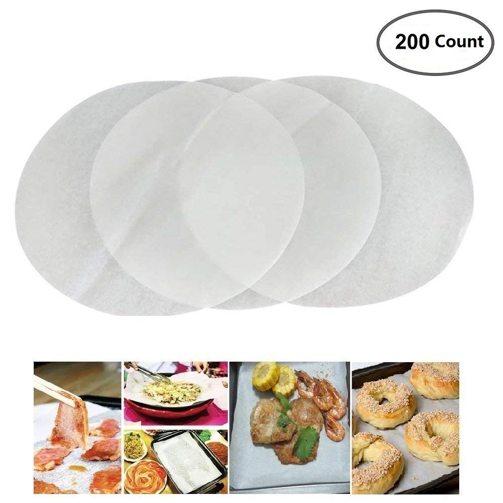 (Set of 200) Non-Stick Round Parchment Paper 6 Inch Diameter, Baking Paper Liners for Round Cake Pans Circle