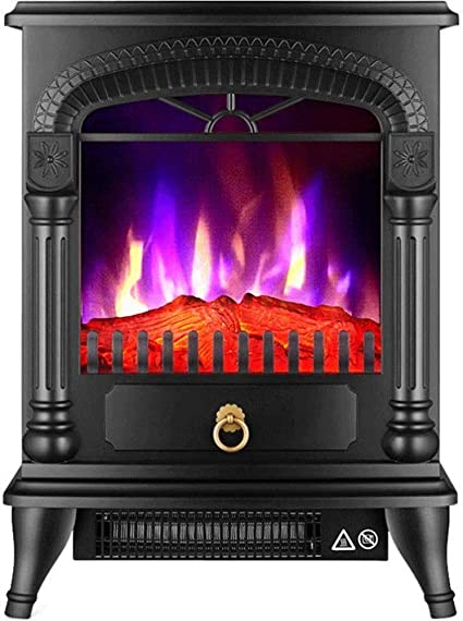 Yljyj Post Free Standing Electric Fireplace Cute Electric Heater Log Fuel Effect Realistic Flame Space Heater 1500 W White Black Colo Electric Fireplaces Sports Outdoors