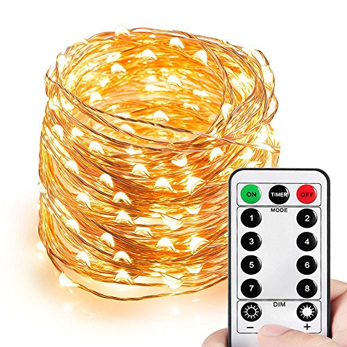 HAHOME Dimmable Christmas String Lights, Waterproof Fairy Lights, Deco Rope Lights for Seasonal Decorative Holiday, Wedding, Parties(99Ft, 300LEDs, Warm White)