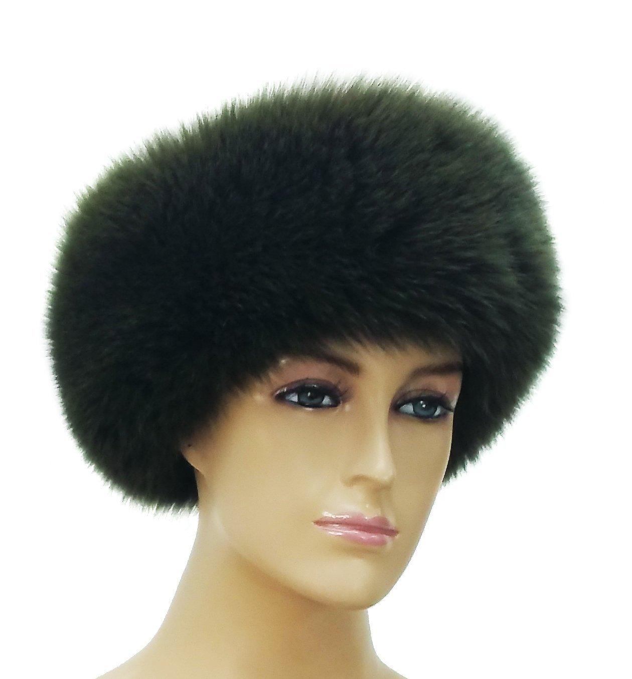 HIMA 100% Real Fox Fur Headband (Dark Olive Green) by Hima