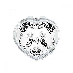 DIYthinker Fluffy Panda géant Animal Portrait Cœur Compact Maquillage Miroir de Poche Portable Mignon Petite Main miroirs Cadeau