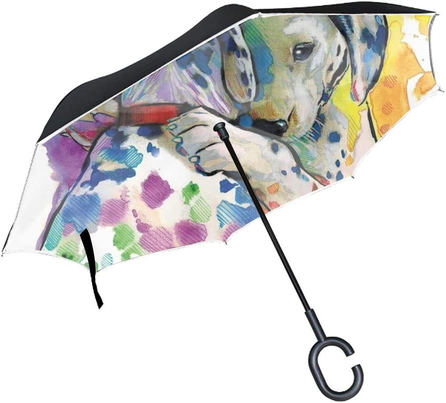 Double Layer Inverted Umbrella Colorful Dog Cars Reverse Open Folding Umbrellas