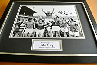 Sportagraphs JOHN GREIG Signed Framed Photo Mount AUTOGRAPH RANGERS Football Display PROOF