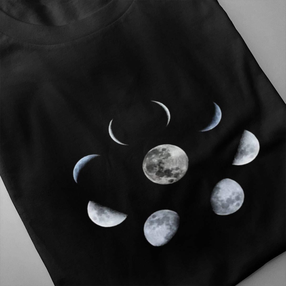 VIIHAHN Moon Phases Mens Casual Hikinground Neck Short Sleeve Shirt
