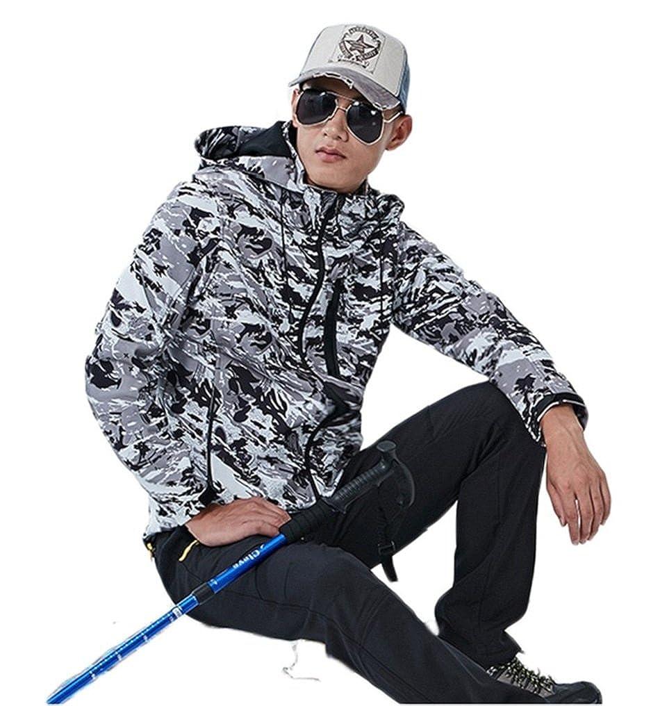 Ausom Unisex Camouflage Velvet Warm Mountaineering Spring Autumn Jacket