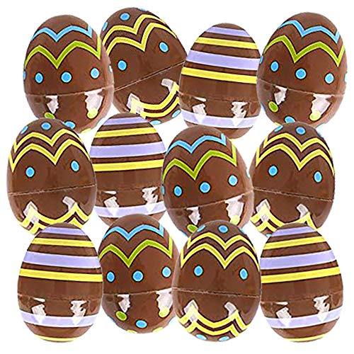 Kicko Plastic Chocolate Candy Print Eggs - 12 Pack - 2.5 Inch Multi-color Prints on Brown Egg Perfect for Easter Egg Hunting, Birthday Parties, Holiday Season (Eggs Christmas Easter)