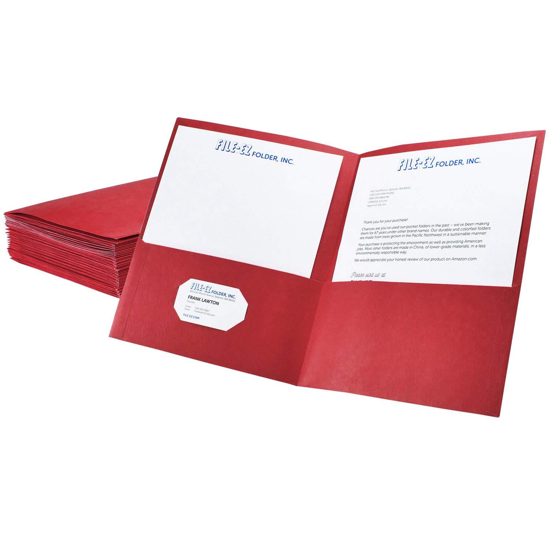 FILE-EZ Two-Pocket Folders, Red, 25-Pack, Textured Paper, Letter Size (EZ-32558)