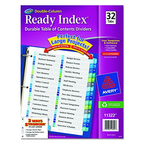 Ready Index Two Column Table (Avery Ready Index Double-Column Table of Contents Dividers, 32-Tab, Multi-Color (11322))