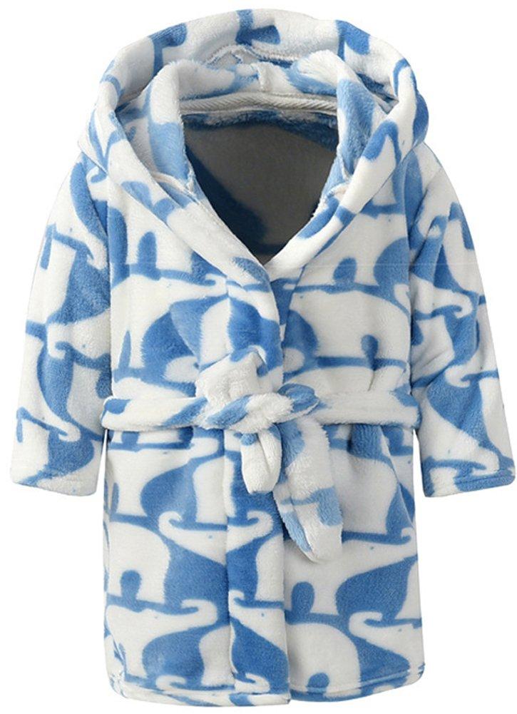 Boys & Girls Bathrobes,Plush Soft Flannel Bathrobes Hooded Sleepwear for Kids