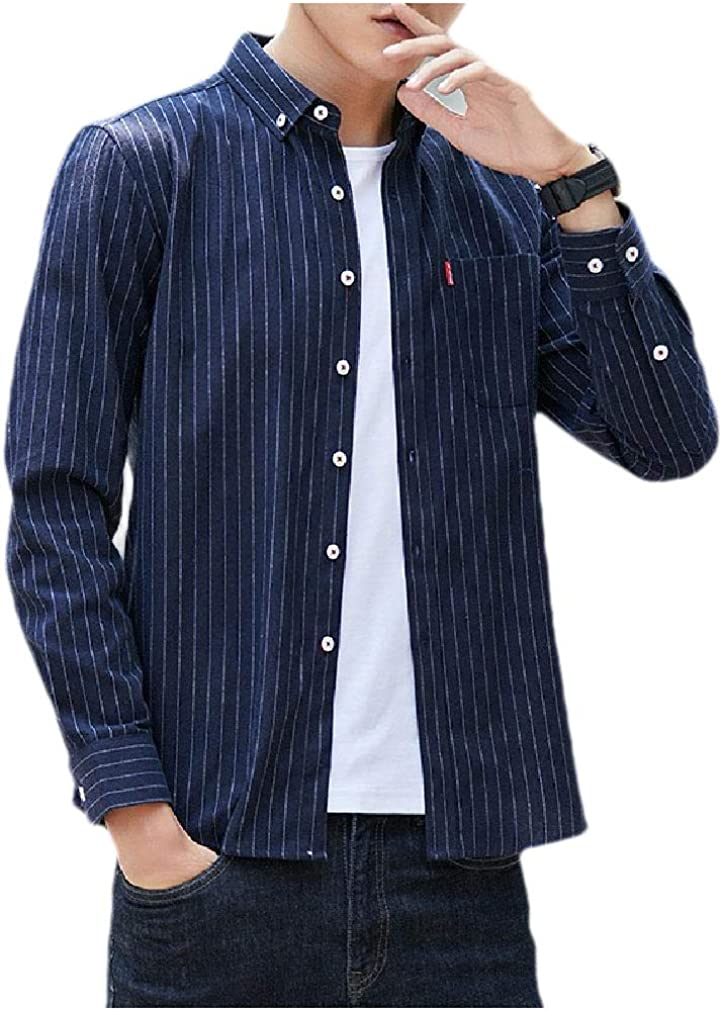 Tralounry Mens Fashion Peaked Collar Long-Sleeve Flannel Striped Work Shirt