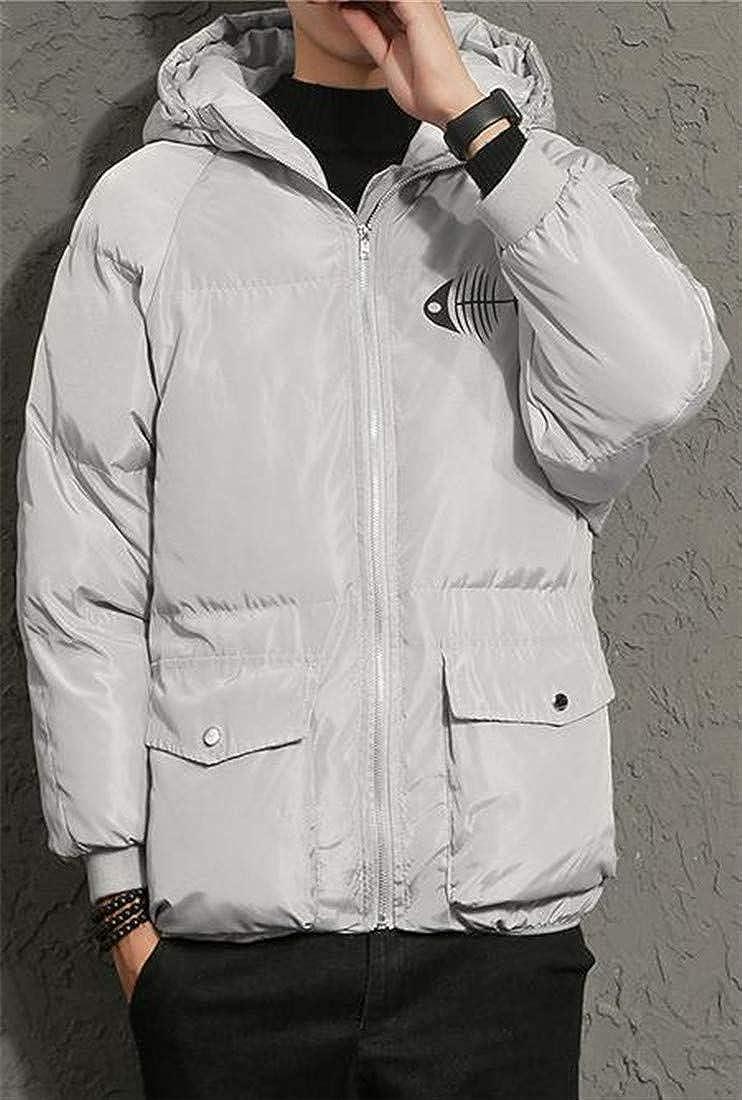 Joe Wenko Mens Thick Hooded Print Puffer Packable Plus Size Parka Coat Jacket