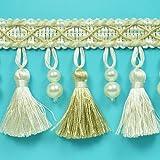 Expo International Nadene Pearl Tassel Fringe Trim Embellishment, 20-Yard, Ivory/Light Gold
