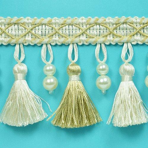 Expo International Nadene Pearl Tassel Fringe Trim Embellishment, 20-Yard, Ivory/Light Gold by Expo International Inc.