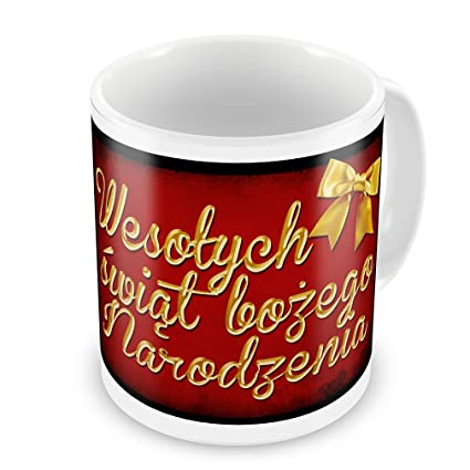 coffee mug merry christmas in polish from poland neonblond