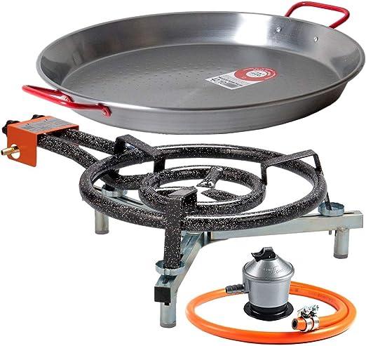 Paellero 40cm a Gas Garcima + Kit paellero Bricolemar (Soporte Universal sobremesa + Paellera 42cm + Regulador de Butano y Manguera Homologada): Amazon.es: Hogar