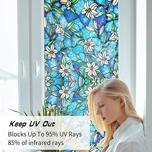 Ablave Stained Glass Window Film Decorative Privacy Window Film Frosted Window Film Window Clings No-Glue Self Static Cling for Home Bedroom Bathroom Kitchen Office 17.7\