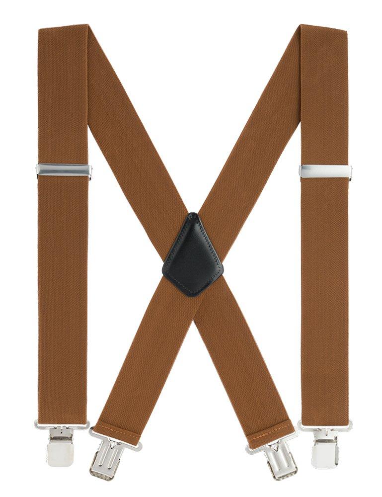 GradeCode Mens Work Suspenders, 2'' Wide X-Back Adjustable Elastic Heavy Duty Clip Suspenders (Brown)