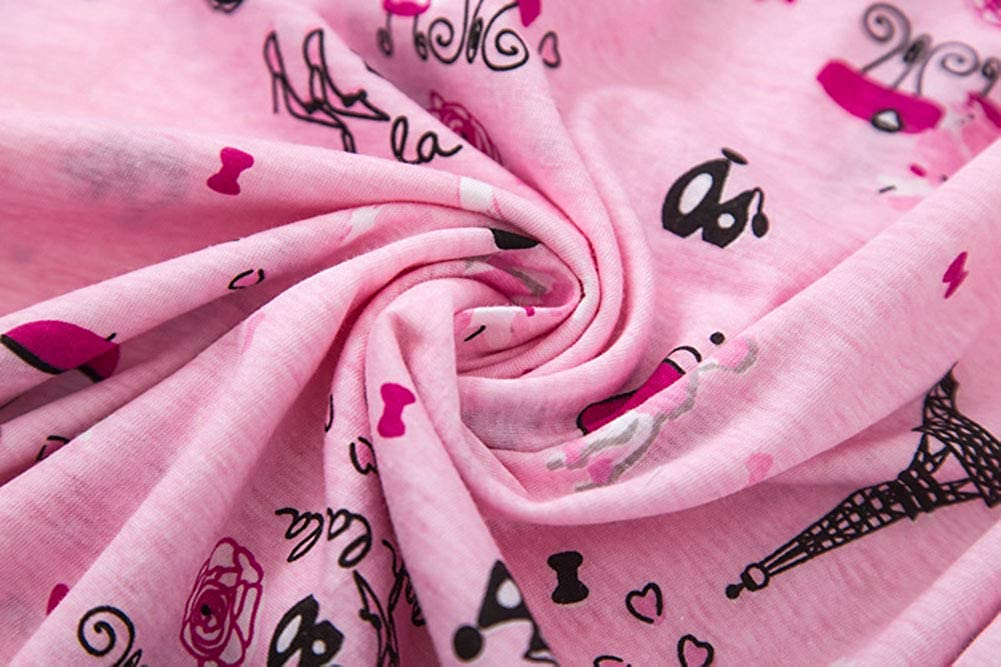Pigiama Donna Cotone Manica Corta Stampa Button Down Camicia da Notte Premaman Aperte Davanti Lunga Sleepwear Night Shirt Taglie Forti M-XXL