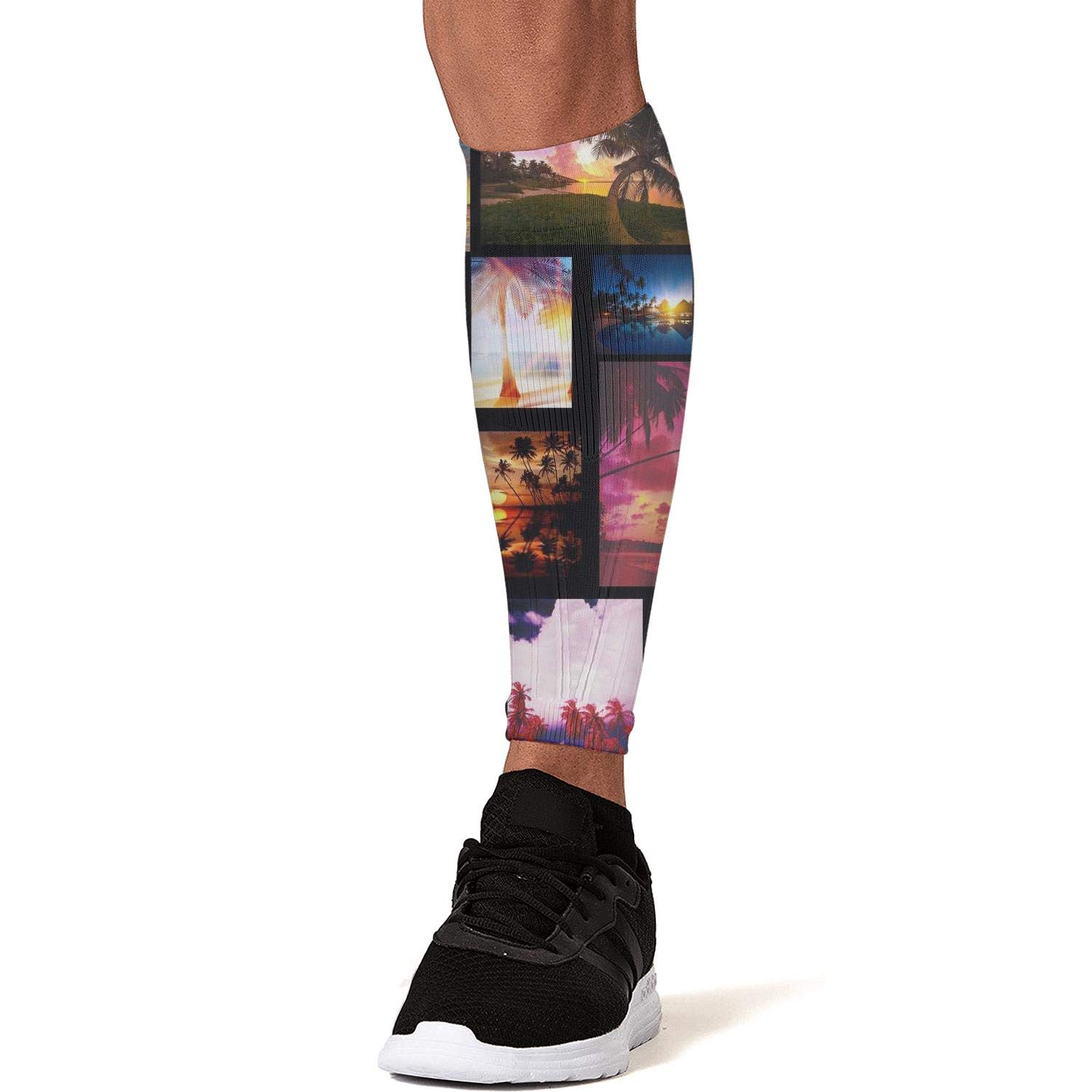 Smilelolly Tropical Coconut Palm Trees Beach Calf Compression Sleeves Helps Calf Guard Leg Sleeves for Men Women