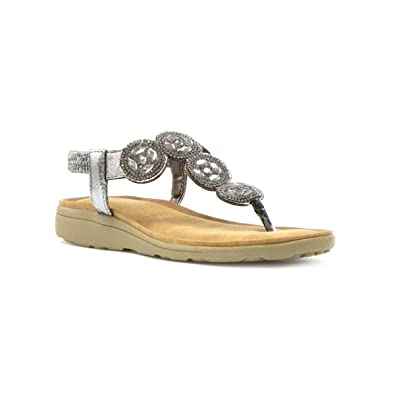 Lunar Damen Schwarz Flache Sandale mit Spitzenblumenverzierung - Größe 38 - Schwarz aqUp0LNCj