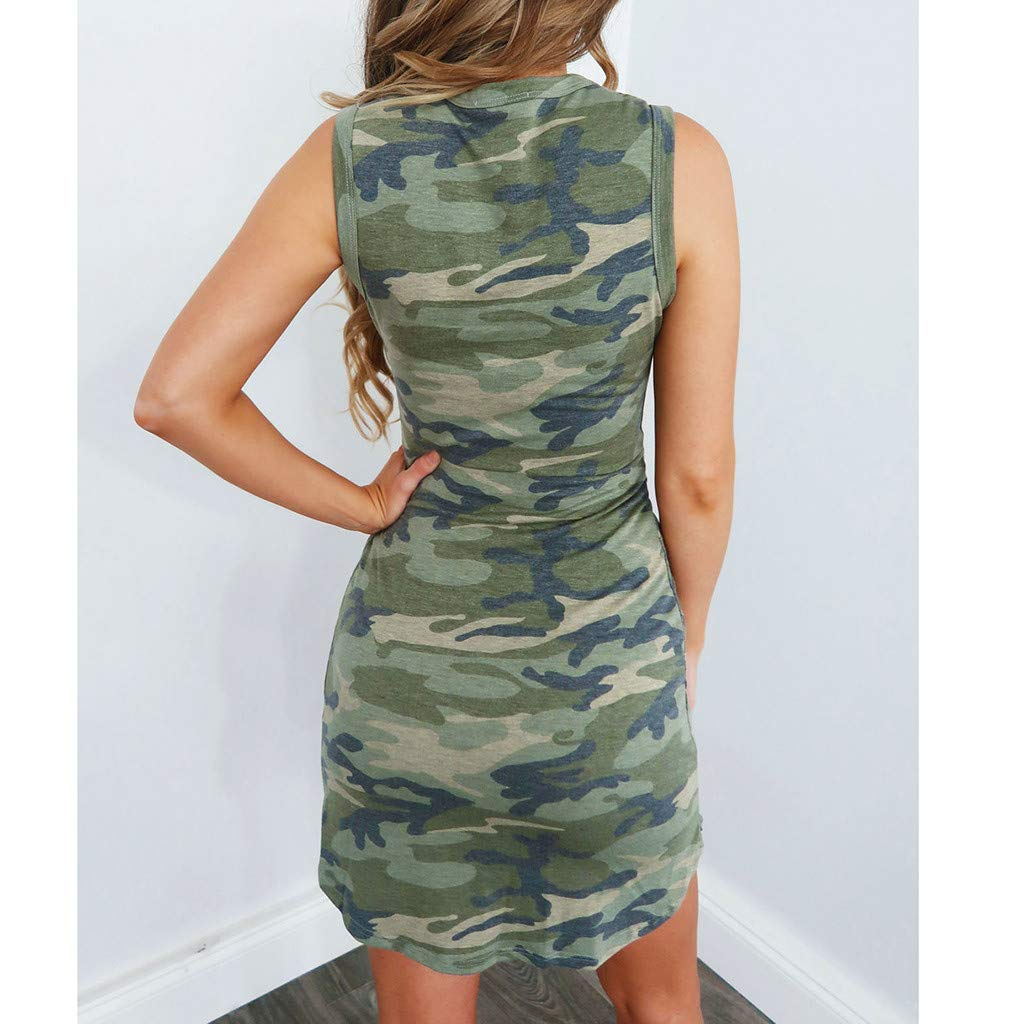 Bibao Women Camouflage Print Holiday Dresses Tied Up,Casual Loose Party Club Beach Sundress Green, S