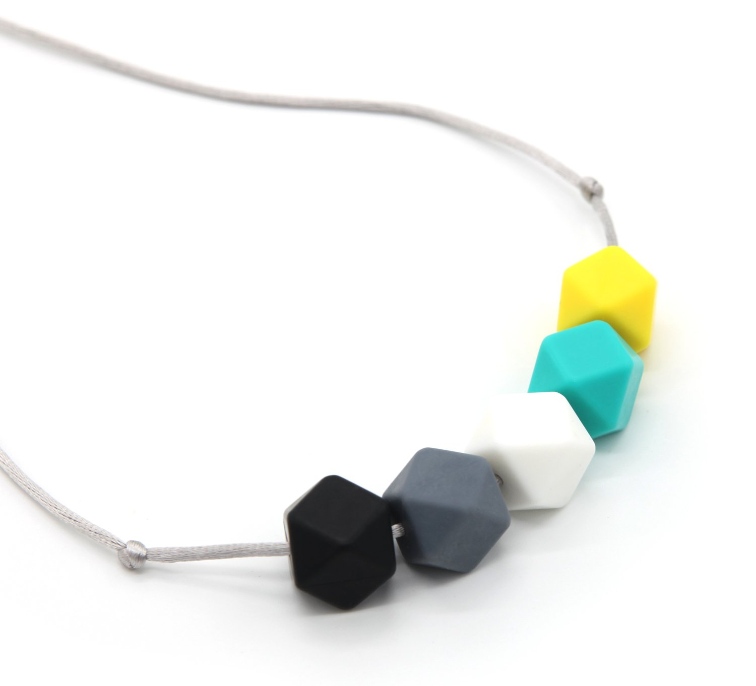 Deeyee Baby Silicone Teething Nursing Necklace Jewelry - BPA Free and FDA Approved - Sweet Cube (Black-Grey-White-Green-Yellow) by Deeyee   B01DLZVWJ8