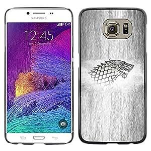 KLONGSHOP // Cubierta de piel con cierre a presión Shell trasero duro de goma Protección Caso - Lobo Sigil - Samsung Galaxy S6 //